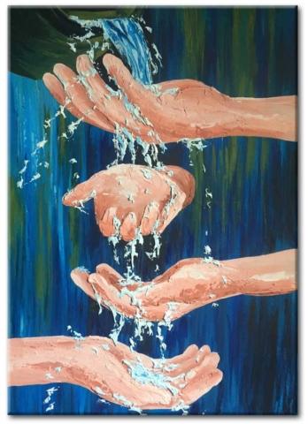 water, hands